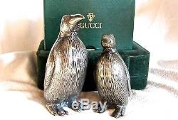 Gucci Vintage Signed Penguin Silver Salt & Pepper Shakers-RARE COLLECTORS ITEMS