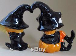 HALLOWEEN LITTLE WITCH GIRLS Salt and Pepper Shakers LEFTON SUPER RARE