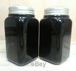 HTF 1930's McKee Black Small Box Design Range Shakers Salt & Pepper