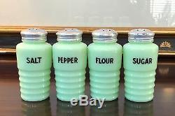 HTF Jeannette Jadeite 6 Ounce Spice Size Range Shaker Set Salt Pepper Flour +