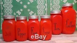 HTF Red Anchor Hocking Fired On Shakers Salt, Pepper, Flour, Sugar w Original Lids