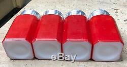 Hazel Atlas Fired on Red Color Salt Pepper Flour & Sugar Range Shakers & Rack