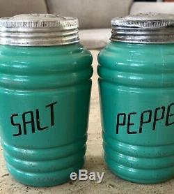 Hazel Atlas Fired on Turquoise Green Barrel Salt & Pepper Flour Range Shaker Set