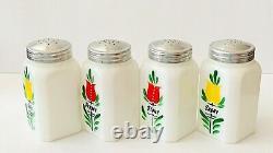 Hazel Atlas Milk Glass Dutch Tulips Hand Painted Salt Pepper Flour Sugar Set