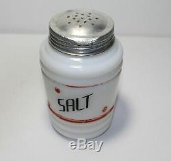 Hazel Atlas Vintage Set Milk Glass Shakers with Red Stripes Salt, Pepper, Suga
