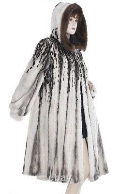 High Art! Salt/Pepper Color, Abstract Pattern Sheared Mink Fur Hooded Swing Coat
