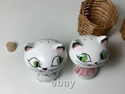 Holt Howard Vintage Cozy Kitten Anthropomorphic Cat Salt Pepper Shakers Baskets