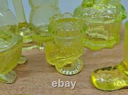 Huge Lot Of Vintage Yellow Vaseline Glass Mosser Boyd Salt Pepper Horse Fish Cat
