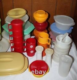 Huge Lot of 114 pcs VTG! Tupperware Cups Mugs Salt&Pepper Spaghetti Containers