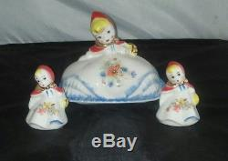 Hull Pottery Little Red Riding Hood Covered Butter Dish and Salt&Pepper set NR