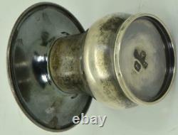Imperial Russian Faberge silver&guilloche enamel pair salt&pepper mushrooms set