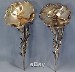 Italian Buccellati Sterling Silver Pair of Poppy Blooms Salt & Pepper Shakers