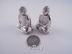 Japanese 950 Silver Buddha Figural Salt & Pepper Shakers Not Sterling Lovely