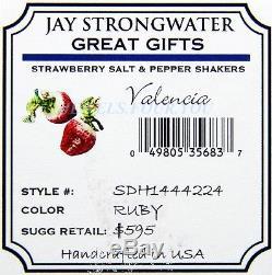 JAY STRONGWATER STRAWBERRY SALT PEPPER SHAKERS VALENCA SWAROVSKI NEW ORIGNL BOX