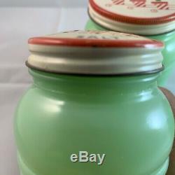 Jadeite Grease Jar With Salt & Pepper Tulip Lids Jade Fire King Anchor Hocking