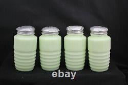 Jadeite Jadite Salt, Pepper, Sugar, Flour Beehive Range Shakers Set Orig Lids