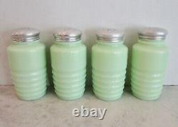 Jadeite Jadite shaker set of 4 salt pepper flour sugar beehive ribbed vintage