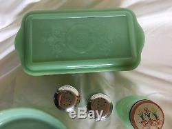 Jadeite Refrigerator Dish, Pie Plate, Salt & Pepper, Shaker with Tulip Lid
