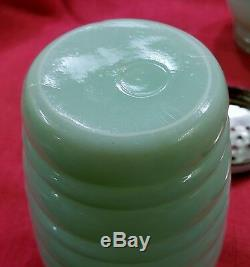 Jadeite Salt Pepper Grease Jar 3Pc Stove Set Drippings Tulip Lid AH Fire King
