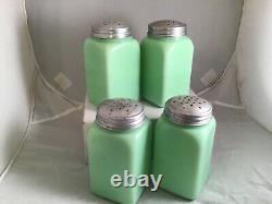 Jadite McKee Large Art Deco Salt Pepper Flour Sugar Box Range Shakers Jadeite