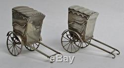 Japanese 950 Sterling Pair Rickshaw Salt & Pepper Shakers