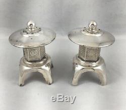 Japanese Sterling Silver Snow Lantern Salt & Pepper Shakers