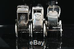 Japanese Sterling Silver Three Rickshaw Salt and Pepper Shakers Circa 1930s