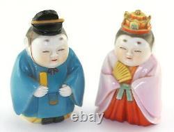 Japanese Toshikane Arita Porcelain Emperor Empress Imperial Salt Pepper Shakers