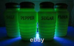 Jeanette Glass Jadeite Salt, Pepper, Sugar, Flour Beehive Range Shakers Set