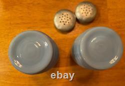 Jeannette Blue Delphite Ribbed Beehive Salt Pepper Shakers Vintage 1940s