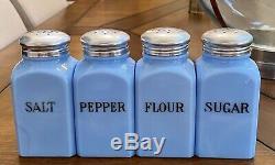 Jeannette Delphite Blue Milk Glass Square Salt Pepper Sugar & Flour Shakers Set