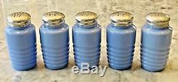Jeannette Delphite Blue Ribbed Salt Pepper Flour Sugar & Paprika Range Shakers