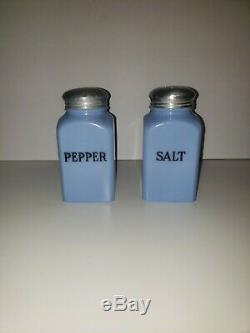 Jeannette Delphite Blue Square Salt and Pepper Shakers Rare Set