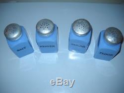 Jeannette Delphite Hoosier Salt/Pepper/Sugar/Flour Range Set