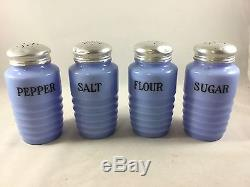 Jeannette Depression Glass DELPHITE BLUE SALT PEPPER SUGAR FLOUR RANGE SHAKERS