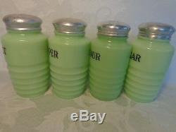 Jeannette Jadeite Glass Round Ribbed Set SALT PEPPER FLOUR SUGAR Range Shakers