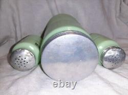 Jeannette Jadeite Horizontal Ribbed Coffee Container salt pepper shakers glass