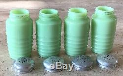 Jeannette Jadeite Jadite Green 8 Ounce Salt Pepper Flour Sugar Range Shaker Set