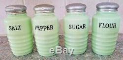 Jeannette Jadeite Jadite Salt, Pepper, Sugar, Flour Range Shakers Set Orig Lids