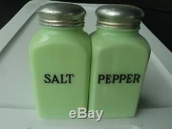 Jeannette Vintage Jadite Square Salt And Pepper Shakers