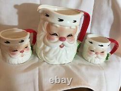Josef Originals Santa Tea Set Pitcher 4 Mugs Salt & pepper sugar excellent condi