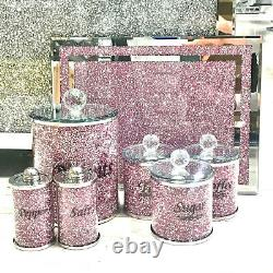 Kitchen Set Pink Crushed Diamond Salt Pepper Canisters Jars Chopping Board