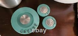 Kromex Vintage rare turquoise/aqua spun aluminum grease and salt & pepper set