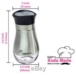 Kuda Salt and Pepper Shakers Set Stainless Steel with Clear Glass Bottom