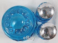 L. E. Smith Moon and Stars Blue Glass Canister Set + Salt & Pepper Shaker