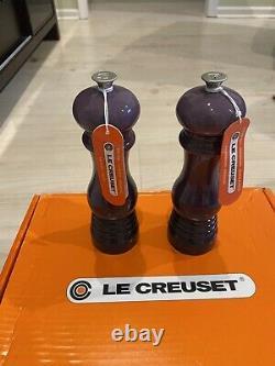 LE CREUSET 8 INCH CASSIS PURPLE SALT MILL & PEPPER MILL SET NEWithTAGS RARE 8