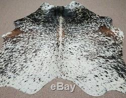 Large Brazilian Tricolor Salt and Pepper Cowhide rug 6.7x 4.11 ft -2993