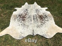 Large Cowhide Rug Tricolor Salt Pepper Real Hair on Cow hide Skin Area Rug 5 x 6