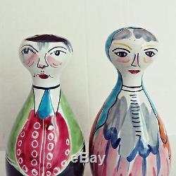 Large Vtg ALVINO BAGNI Italy Italian Art Pottery Man Woman Salt Pepper Shakers