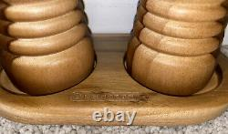 Le Creuset Teak Wood Salt & Pepper Mill Grinders With Tray Free Shipping